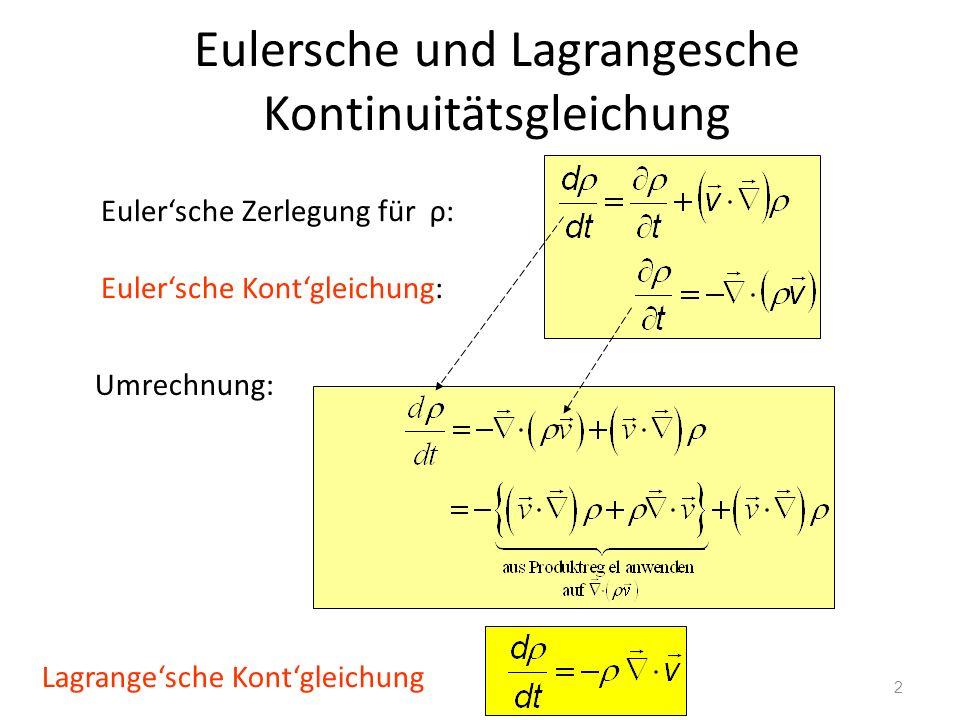 Eulersche und Lagrangesche Kontinuitätsgleichung