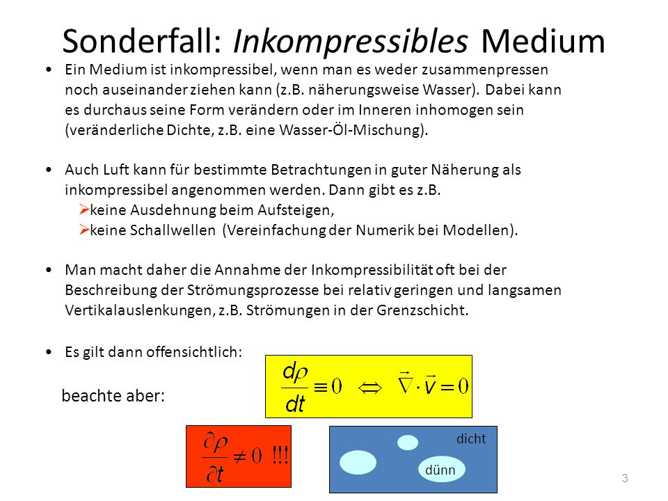 Sonderfall: Inkompressibles Medium