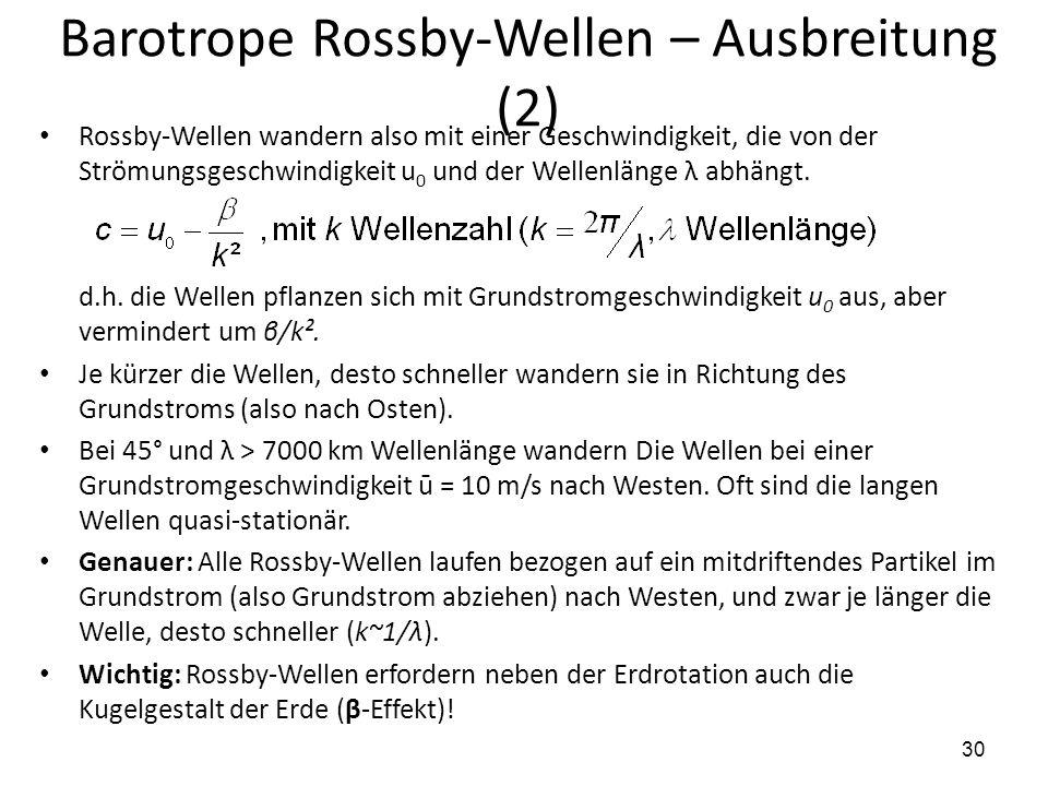Barotrope Rossby-Wellen – Ausbreitung (2)