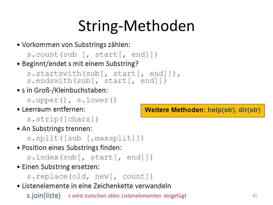 String-Methoden • Vorkommen von Substrings zählen:
