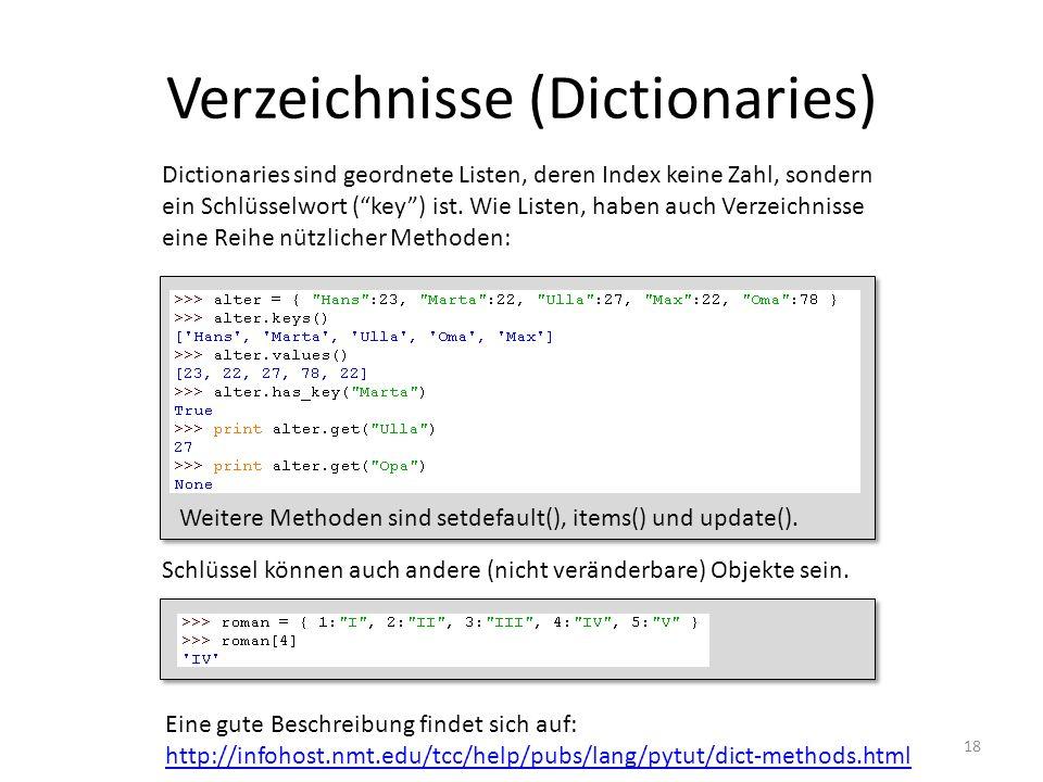 Verzeichnisse (Dictionaries)