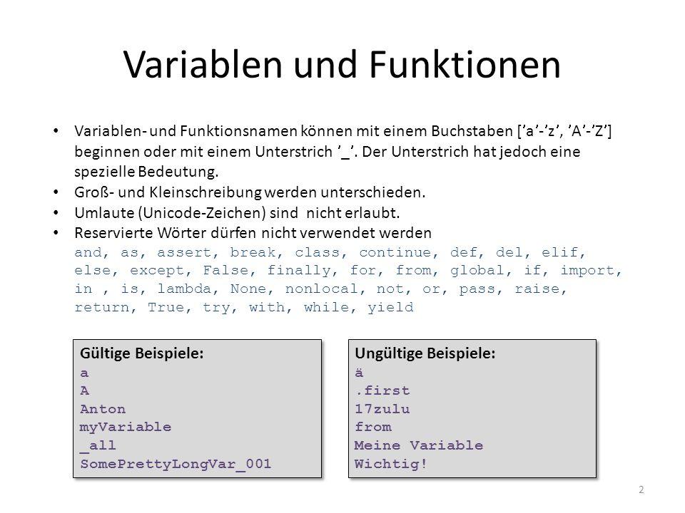 Variablen und Funktionen
