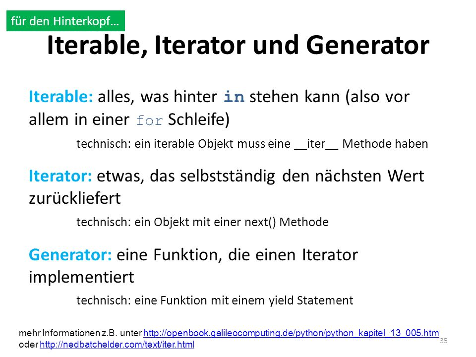 Iterable, Iterator und Generator