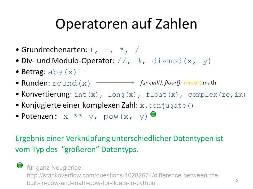 Operatoren auf Zahlen • Grundrechenarten: +, -, *, /