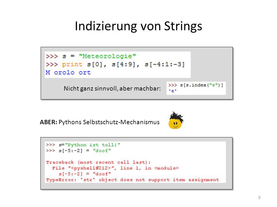 Indizierung von Strings