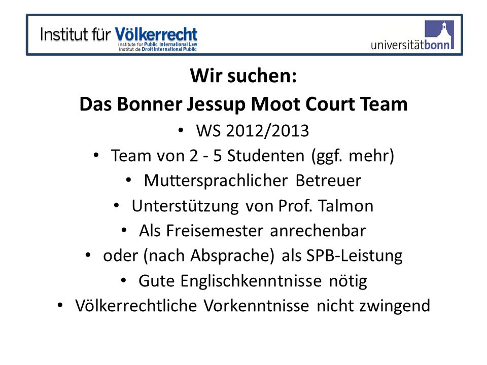 Das Bonner Jessup Moot Court Team