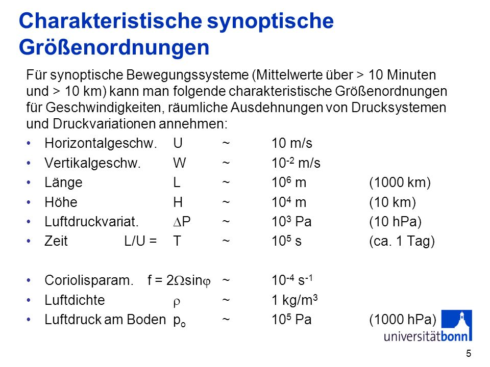Charakteristische synoptische Größenordnungen