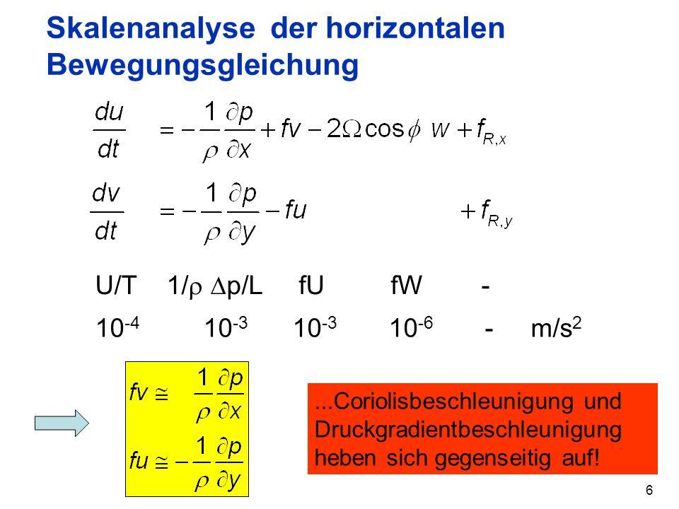 Skalenanalyse der horizontalen Bewegungsgleichung