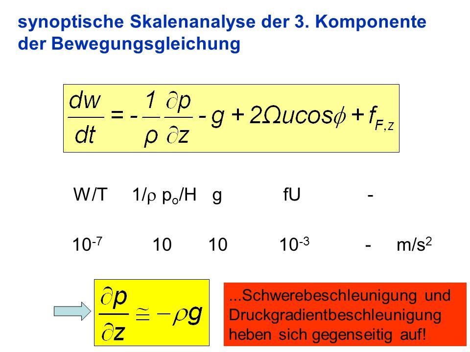 synoptische Skalenanalyse der 3. Komponente der Bewegungsgleichung