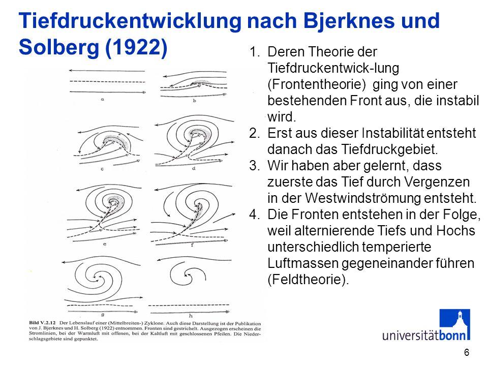 Tiefdruckentwicklung nach Bjerknes und Solberg (1922)