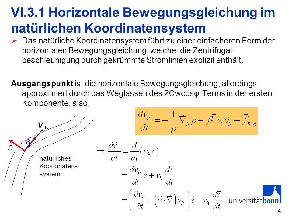 VI.3.1 Horizontale Bewegungsgleichung im natürlichen Koordinatensystem