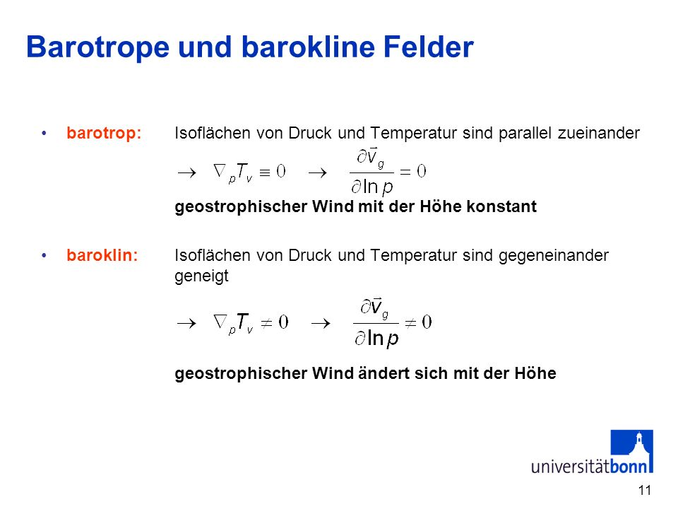Barotrope und barokline Felder