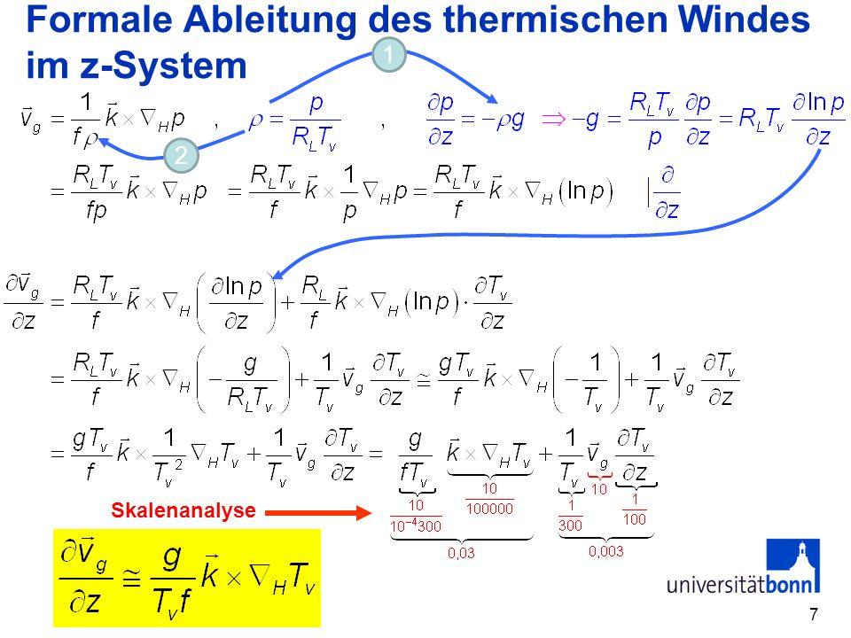 Formale Ableitung des thermischen Windes im z-System