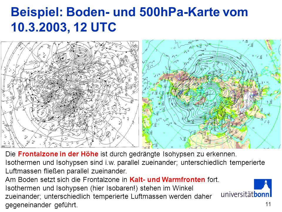 Beispiel: Boden- und 500hPa-Karte vom 10.3.2003, 12 UTC