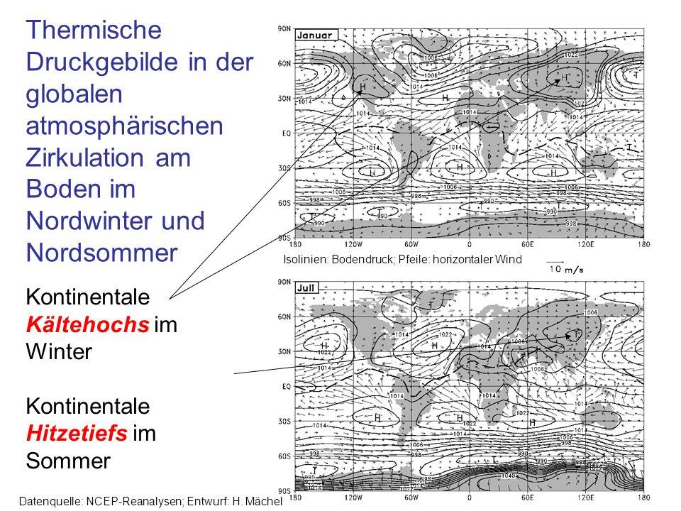 Thermische Druckgebilde in der globalen atmosphärischen Zirkulation am Boden im Nordwinter und Nordsommer