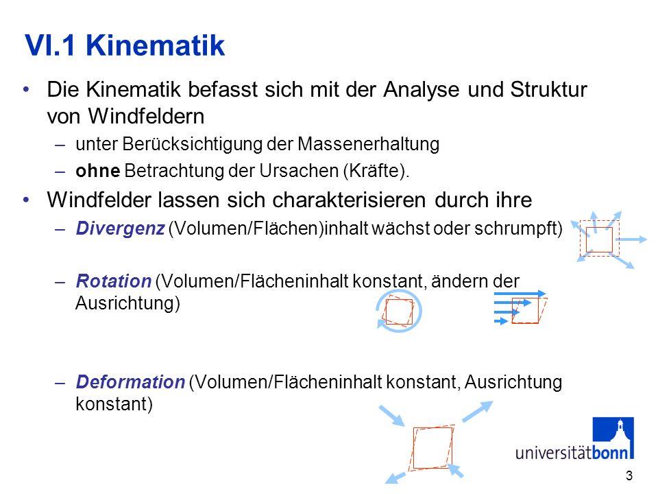VI.1 Kinematik Die Kinematik befasst sich mit der Analyse und Struktur von Windfeldern. unter Berücksichtigung der Massenerhaltung.