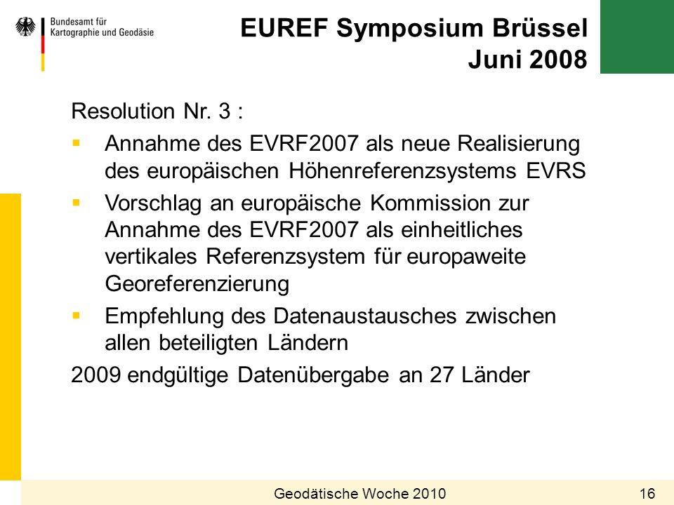 EUREF Symposium Brüssel Juni 2008