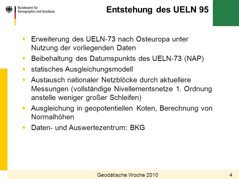 28.03.2017 Entstehung des UELN 95. Erweiterung des UELN-73 nach Osteuropa unter Nutzung der vorliegenden Daten.