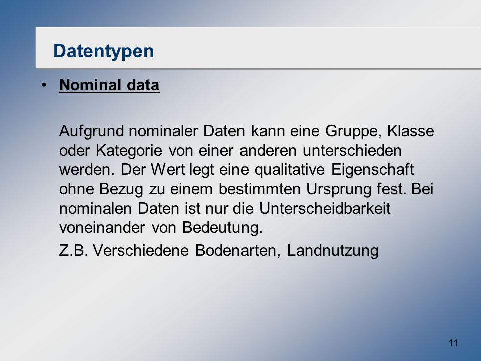 Datentypen Nominal data