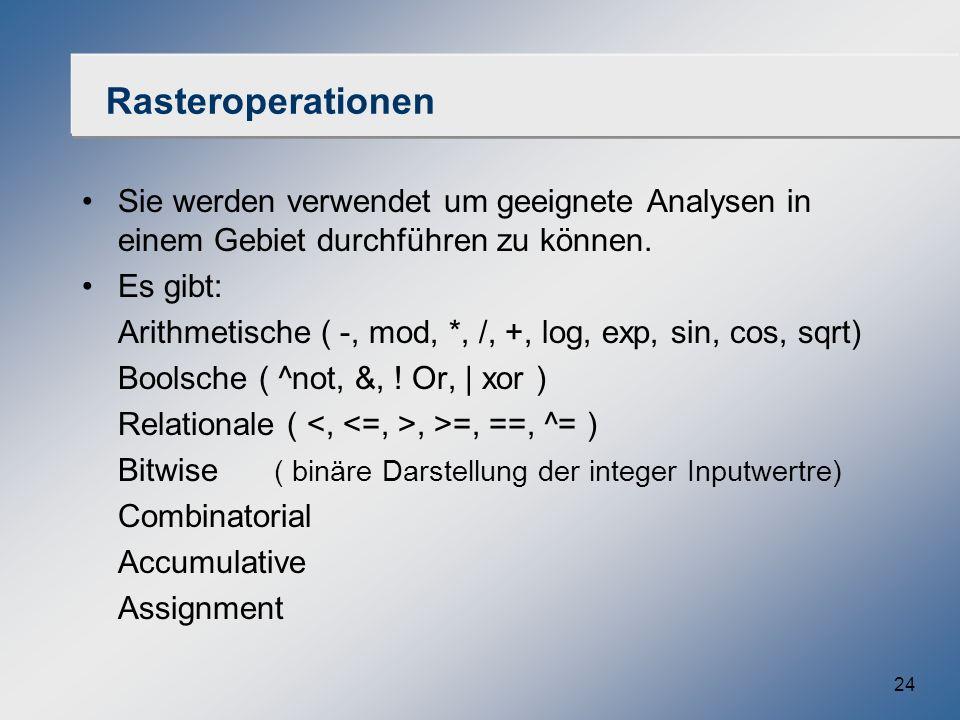 Rasteroperationen Sie werden verwendet um geeignete Analysen in einem Gebiet durchführen zu können.