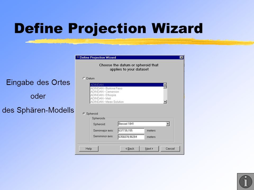 Define Projection Wizard