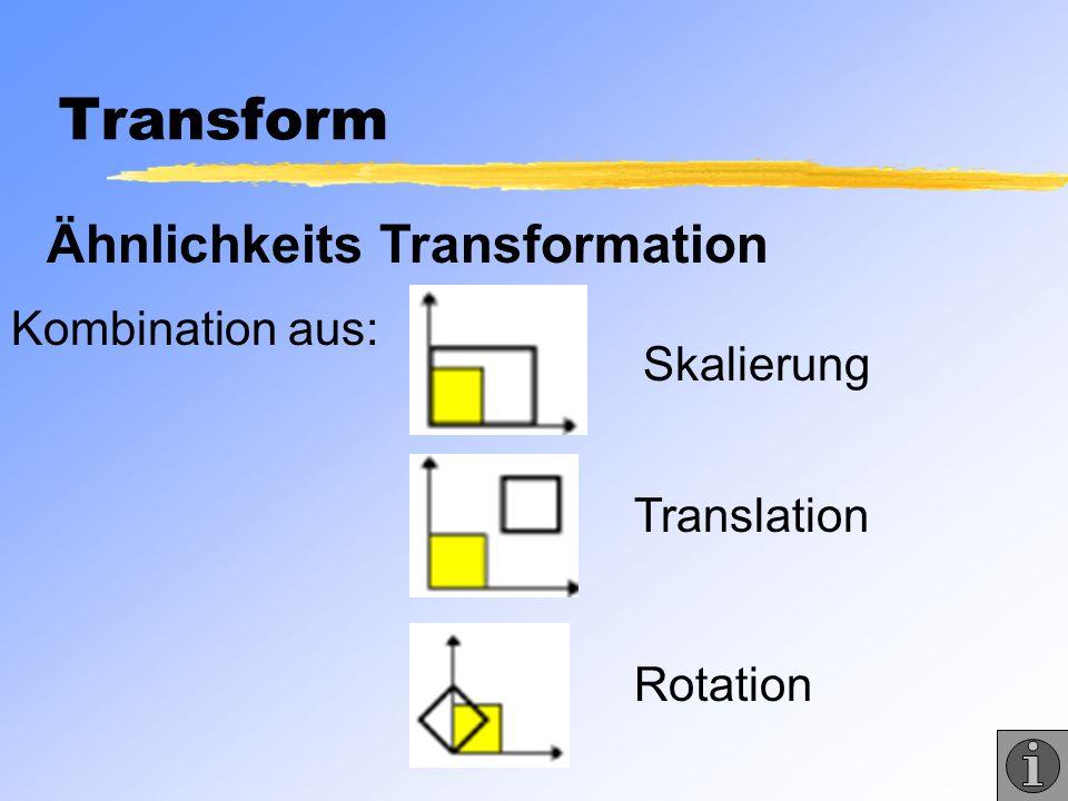 Transform Ähnlichkeits Transformation Kombination aus: Skalierung