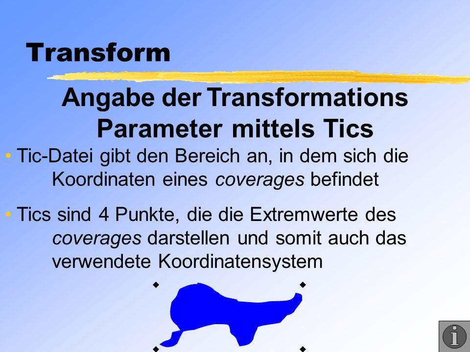 Angabe der Transformations Parameter mittels Tics