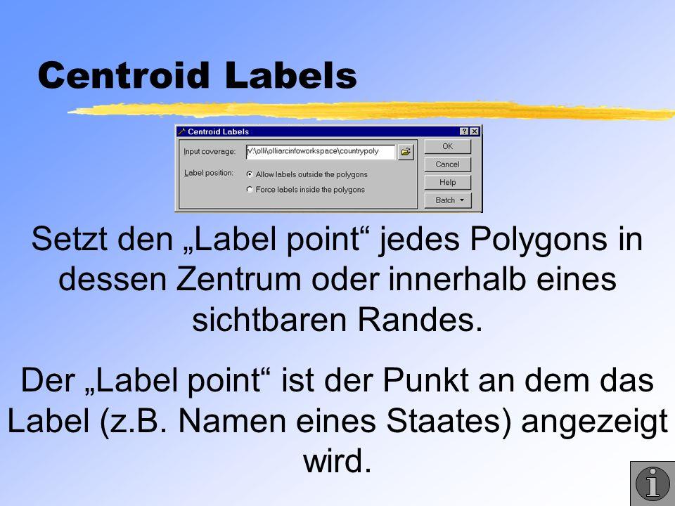 """Centroid Labels Setzt den """"Label point jedes Polygons in dessen Zentrum oder innerhalb eines sichtbaren Randes."""