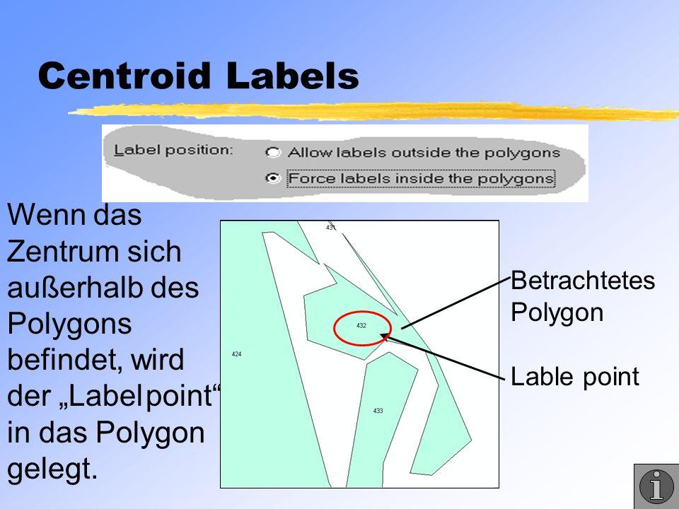 """Centroid Labels Wenn das Zentrum sich außerhalb des Polygons befindet, wird der """"Label point in das Polygon gelegt."""