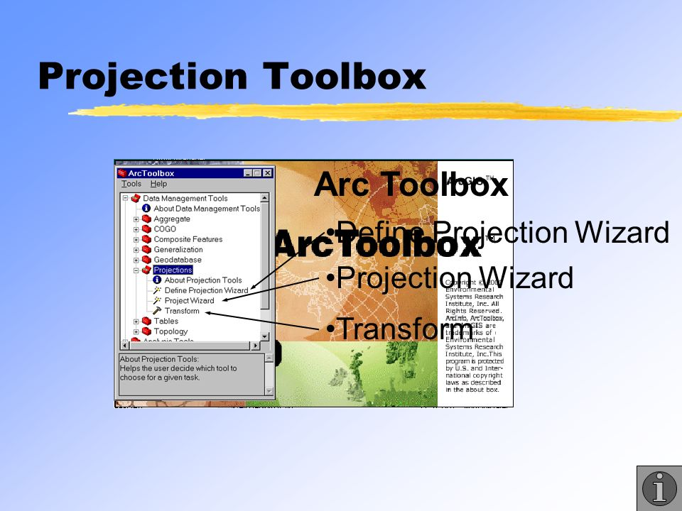 Projection Toolbox Arc Toolbox Define Projection Wizard