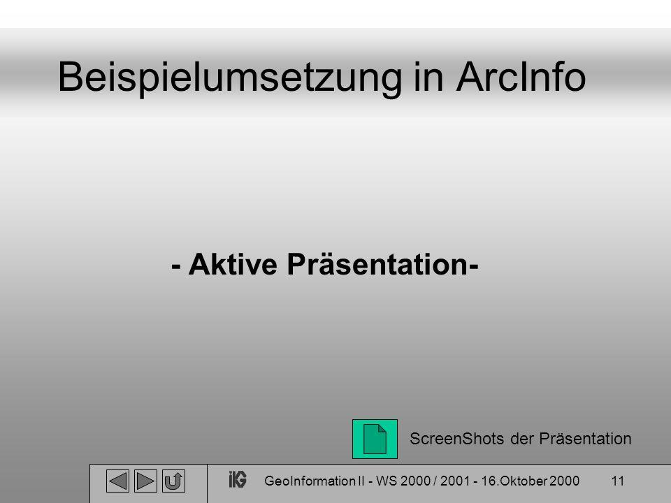 Beispielumsetzung in ArcInfo