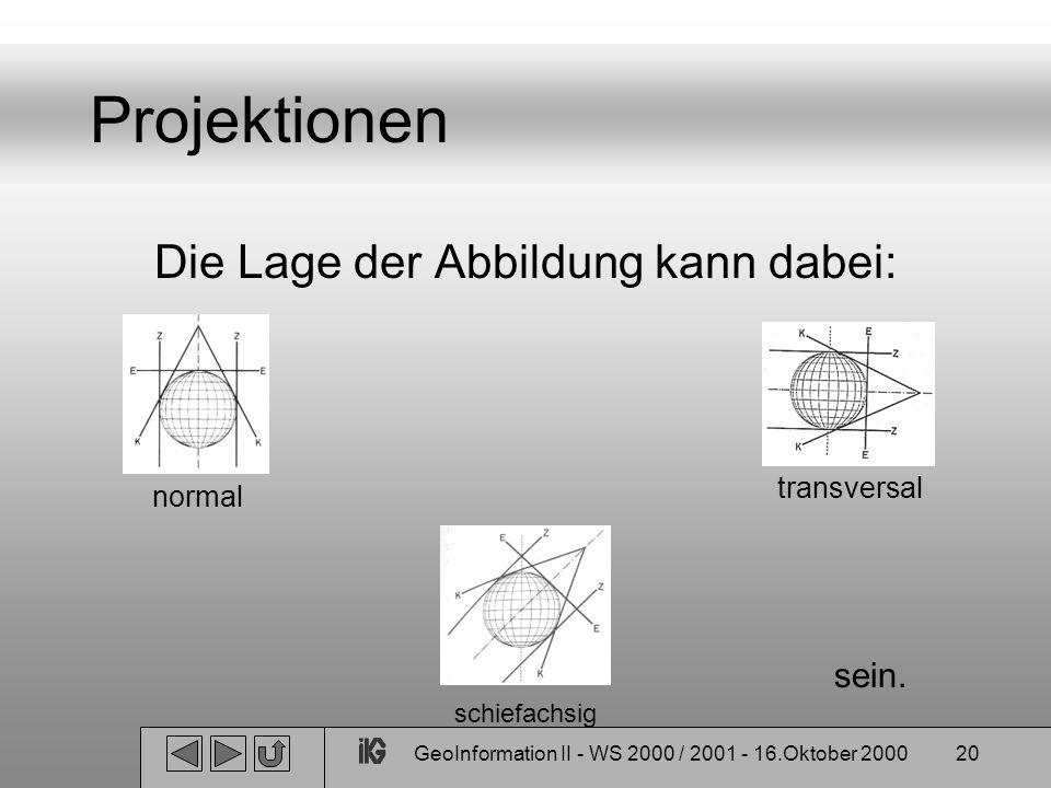 Projektionen Die Lage der Abbildung kann dabei: sein. transversal
