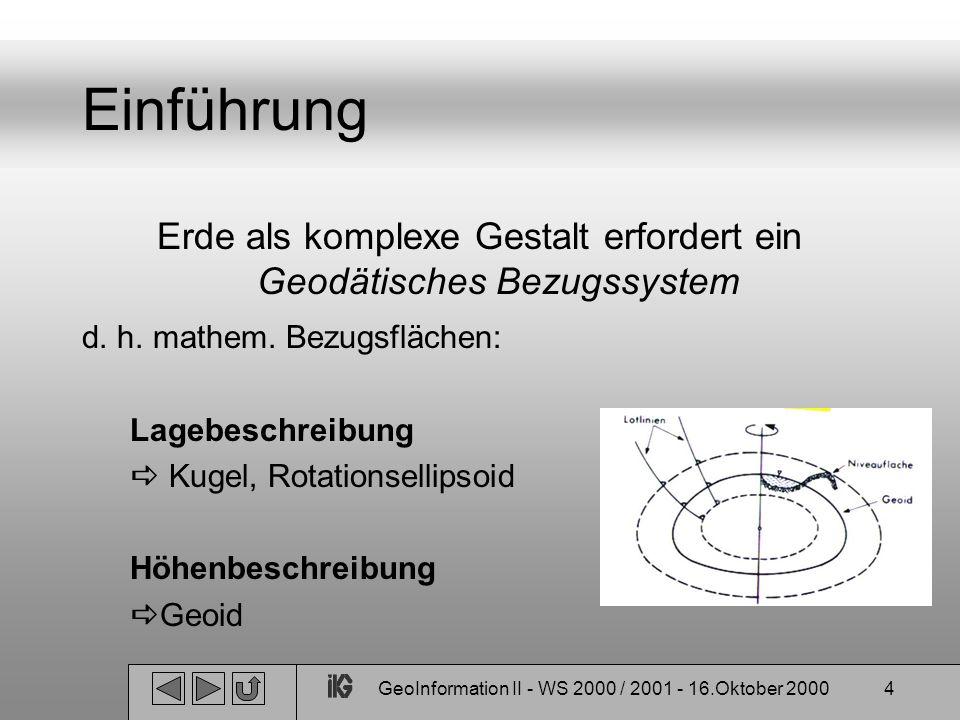Einführung Erde als komplexe Gestalt erfordert ein Geodätisches Bezugssystem. d. h. mathem. Bezugsflächen: