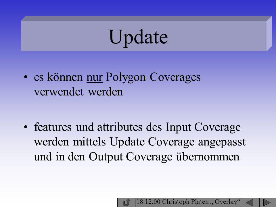 Update es können nur Polygon Coverages verwendet werden