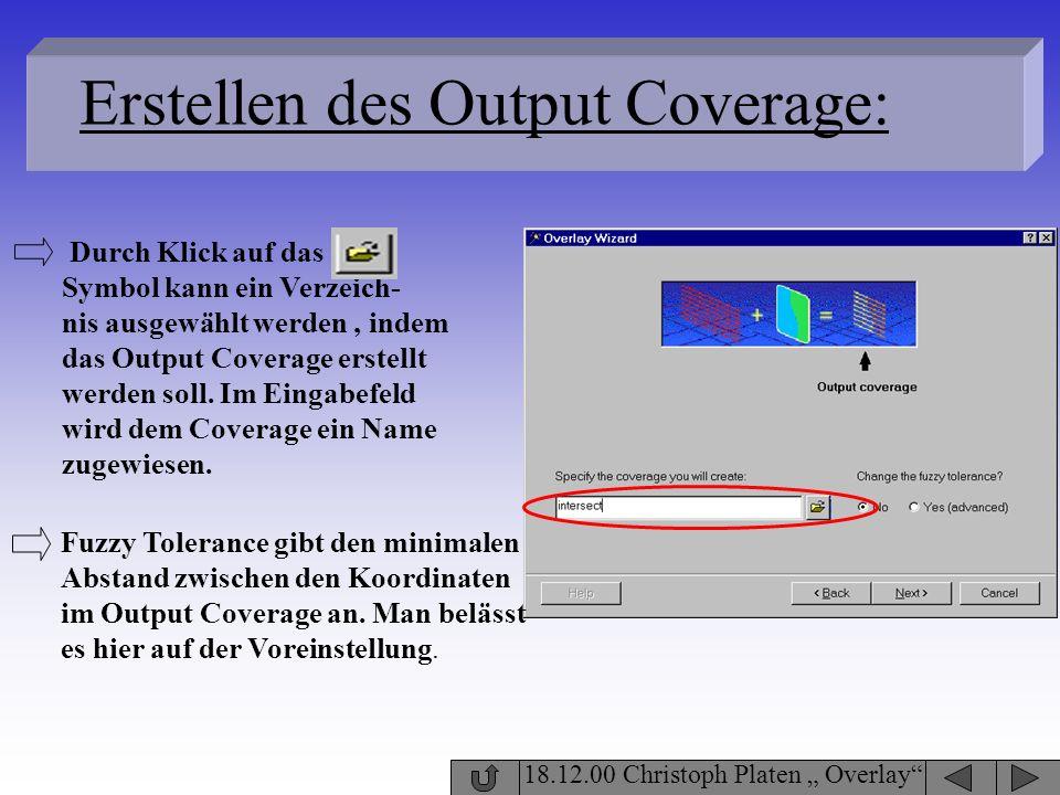Erstellen des Output Coverage:
