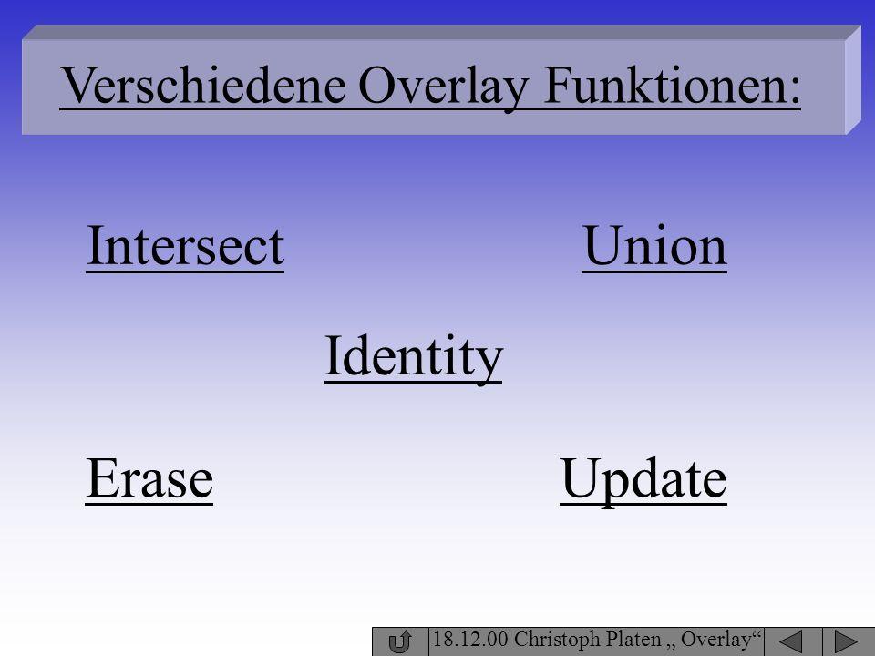 Intersect Union Identity Erase Update Verschiedene Overlay Funktionen: