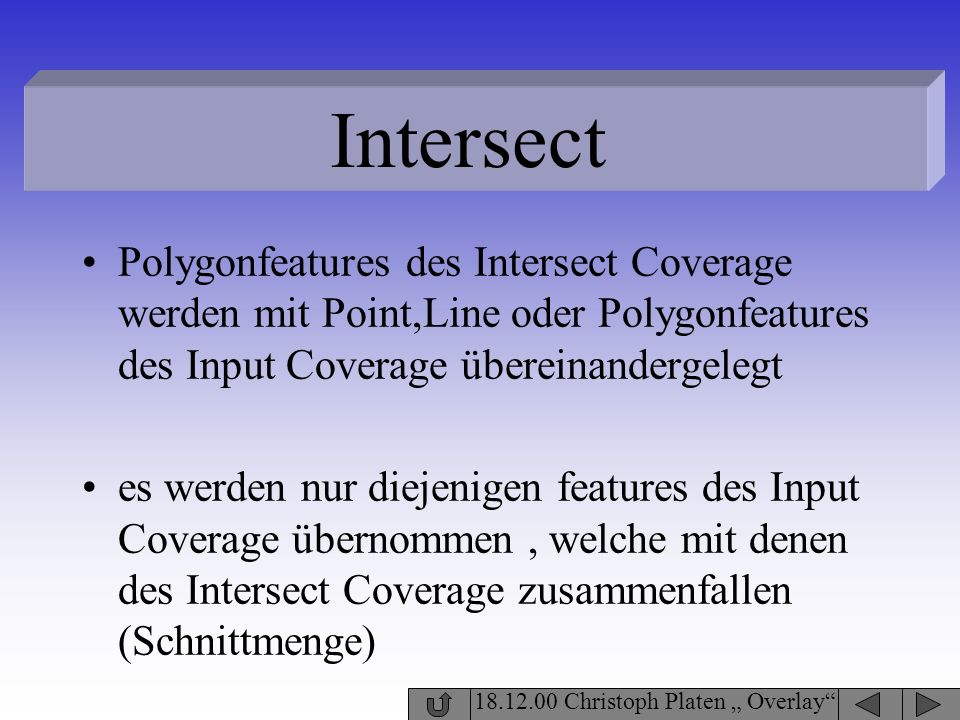 Intersect Polygonfeatures des Intersect Coverage werden mit Point,Line oder Polygonfeatures des Input Coverage übereinandergelegt.