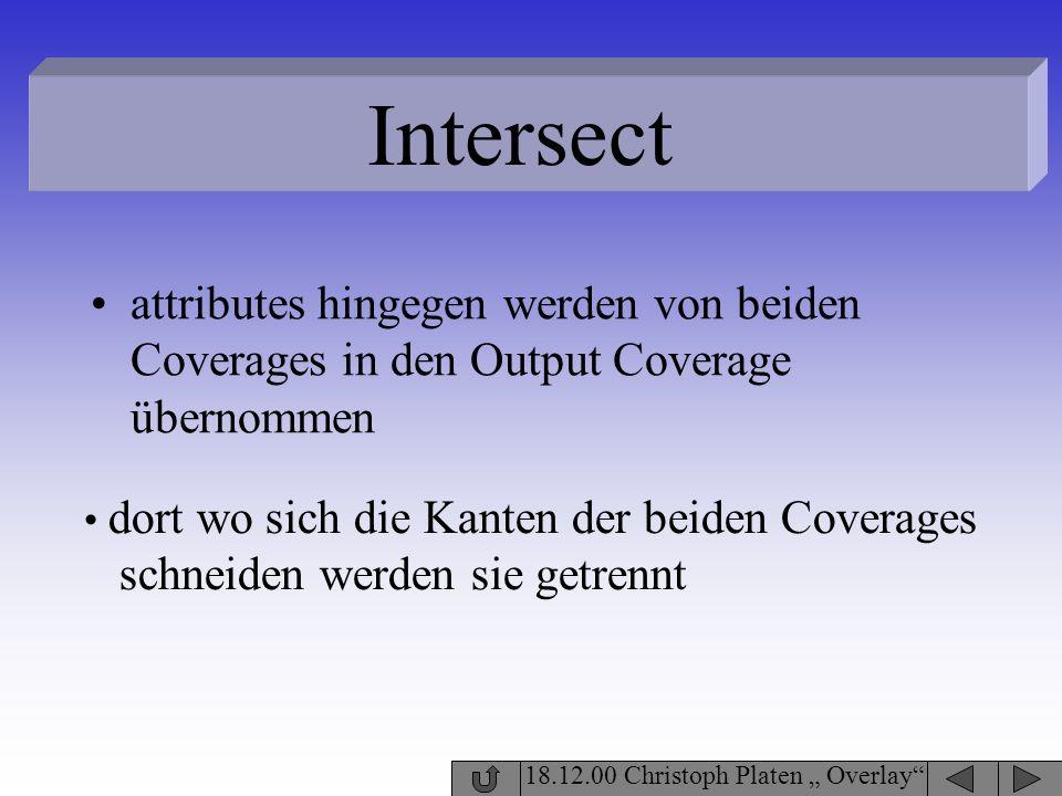 Intersect attributes hingegen werden von beiden Coverages in den Output Coverage übernommen. dort wo sich die Kanten der beiden Coverages.