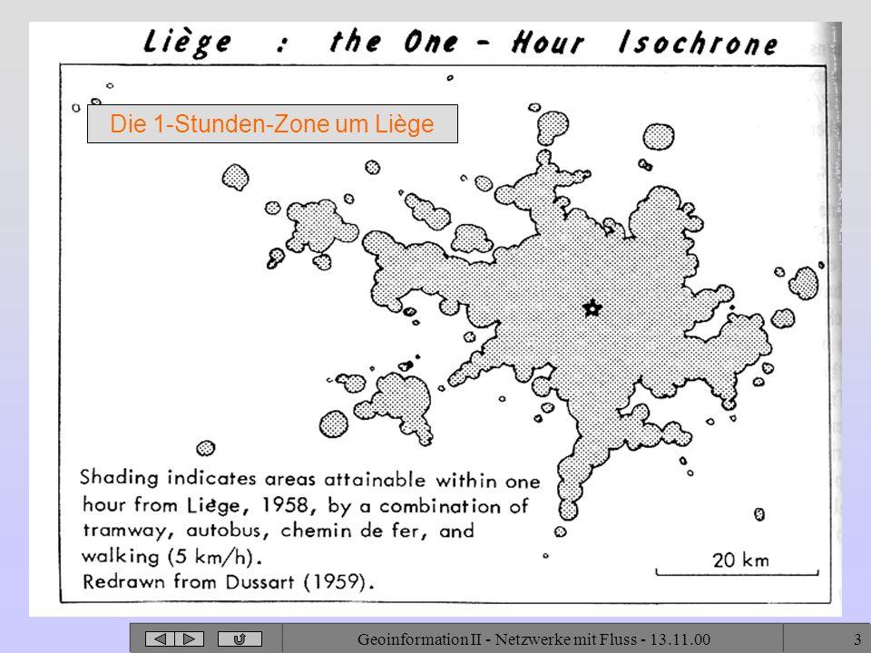 Die 1-Stunden-Zone um Liège