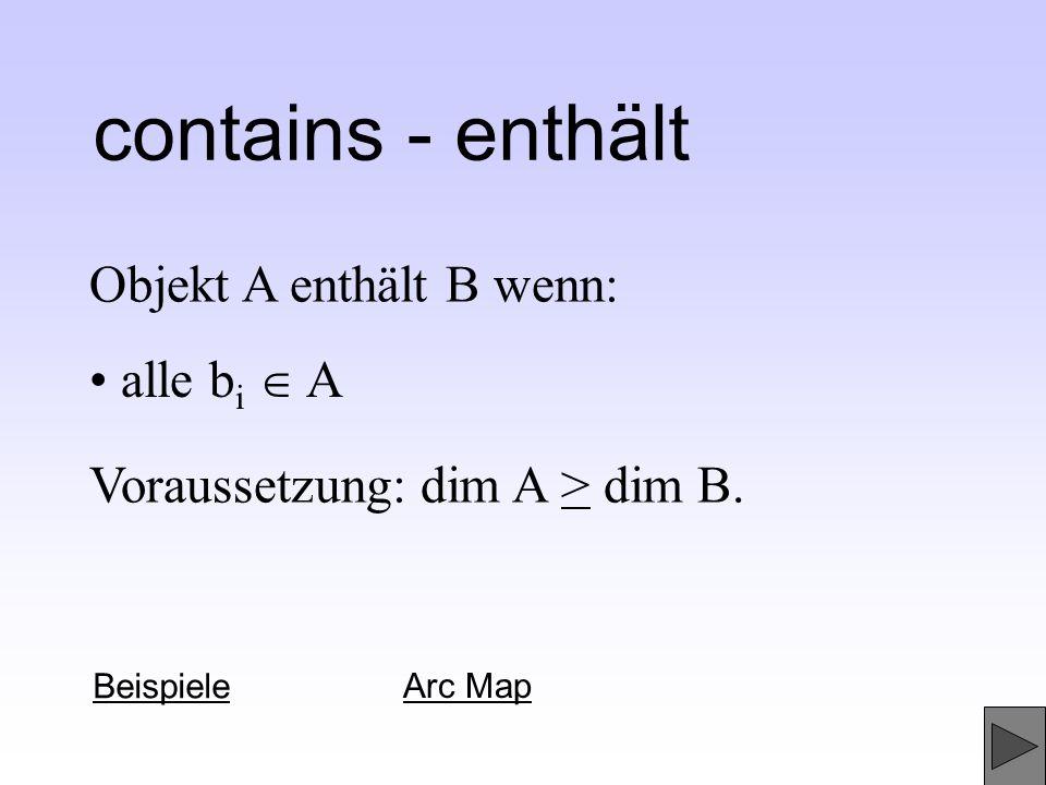 contains - enthält Objekt A enthält B wenn: • alle bi  A