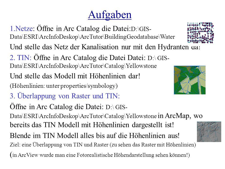 Aufgaben 1.Netze: Öffne in Arc Catalog die Datei:D:\GIS-Data\ESRI\ArcInfoDeskop\ArcTutor\BuildingGeodatabase\Water.