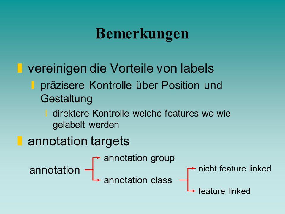 Bemerkungen vereinigen die Vorteile von labels annotation targets