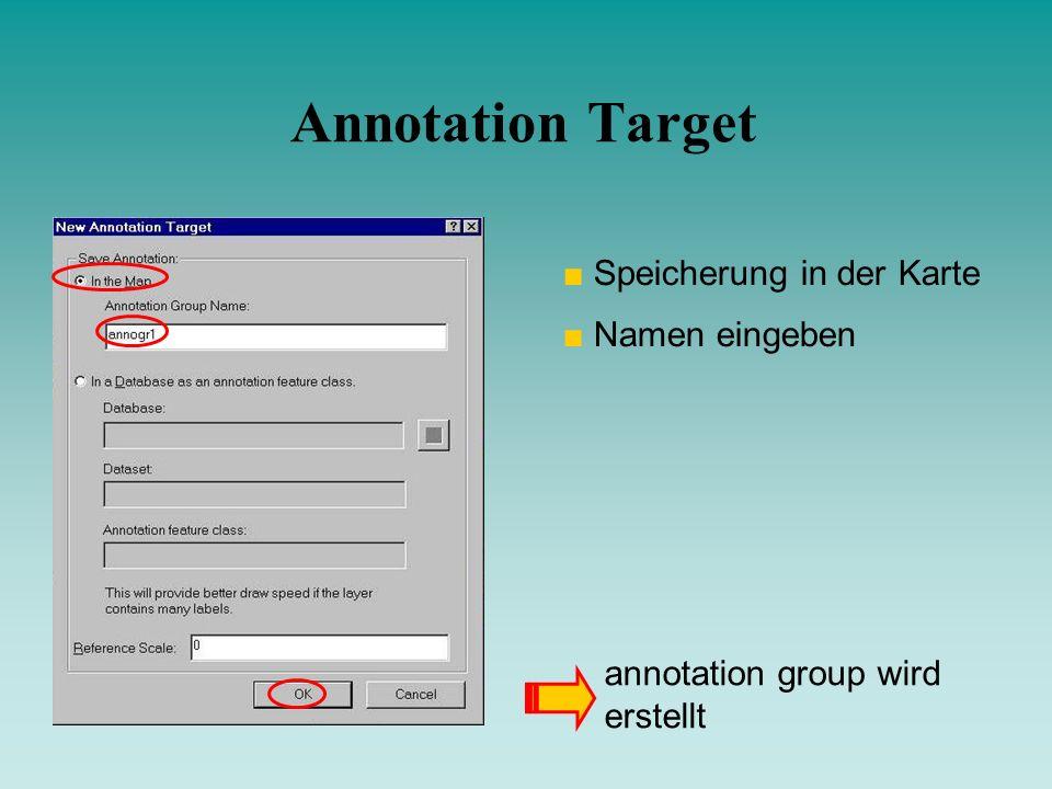 Annotation Target Speicherung in der Karte Namen eingeben
