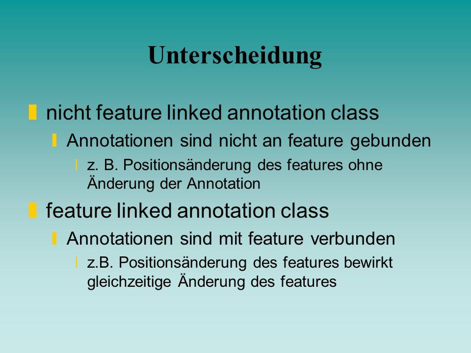 Unterscheidung nicht feature linked annotation class