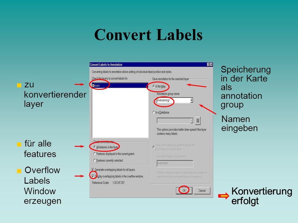 Convert Labels Konvertierung erfolgt Konvertierung erfolgt