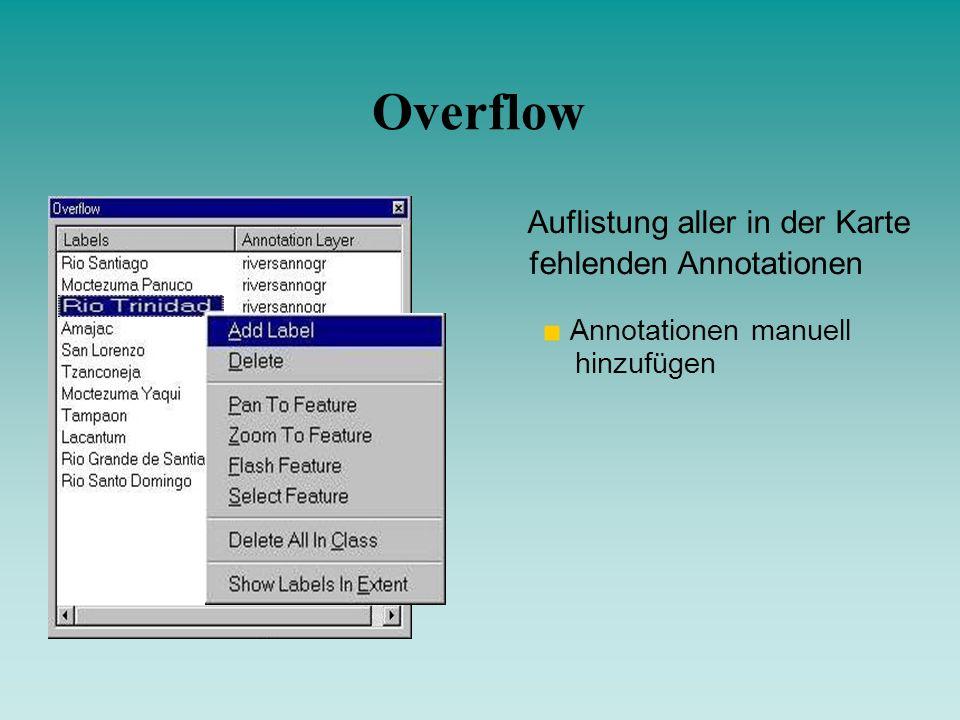 Overflow Auflistung aller in der Karte fehlenden Annotationen
