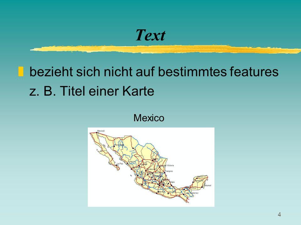 Text bezieht sich nicht auf bestimmtes features