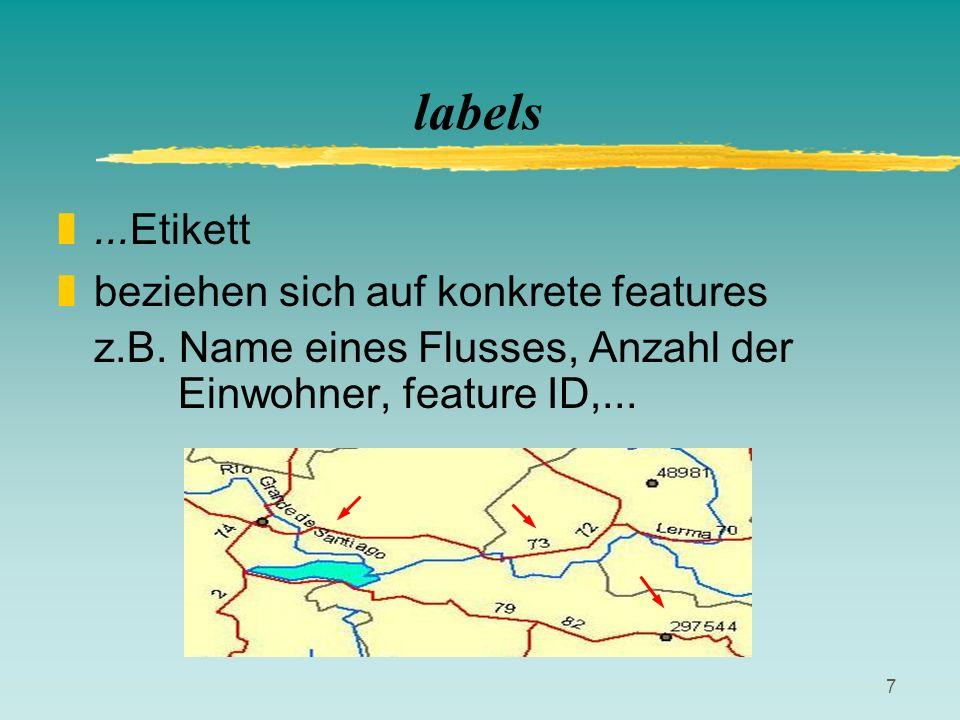 labels ...Etikett beziehen sich auf konkrete features