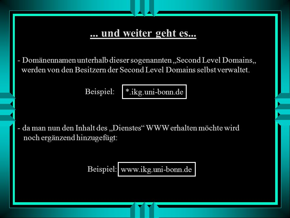 """... und weiter geht es... Domänennamen unterhalb dieser sogenannten """"Second Level Domains"""""""