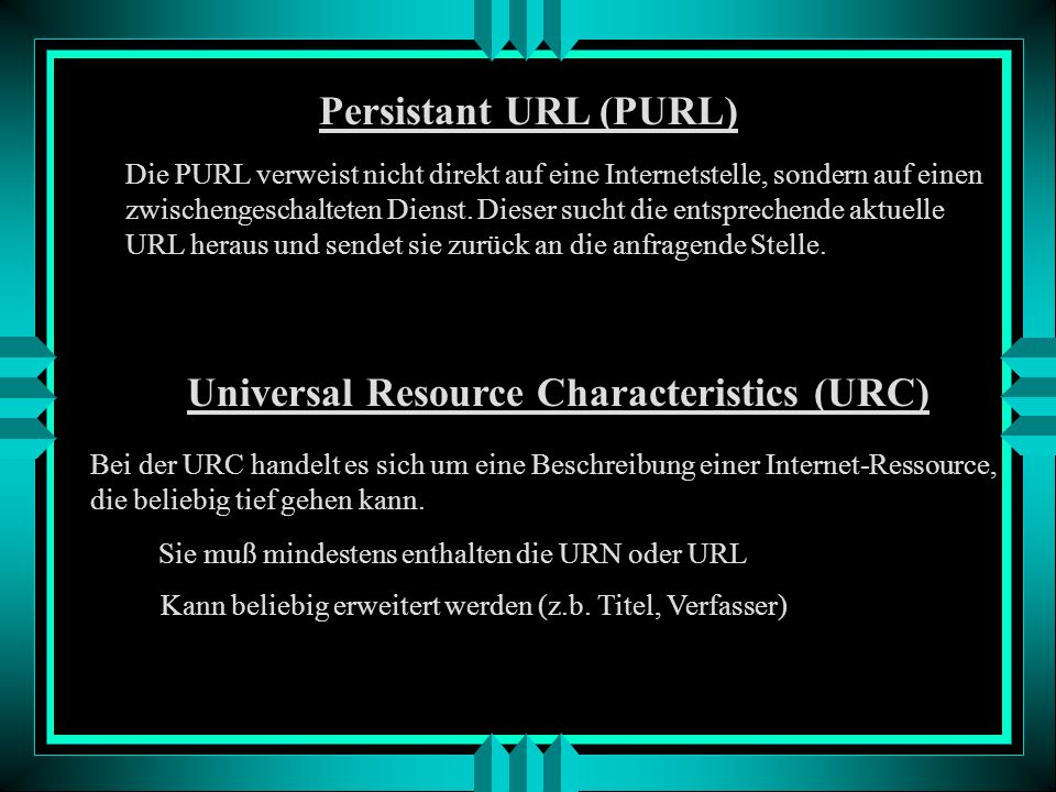 Universal Resource Characteristics (URC)